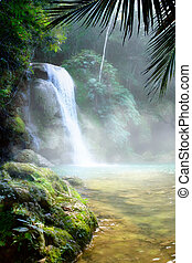 Art waterfall in a dense tropical rainforest