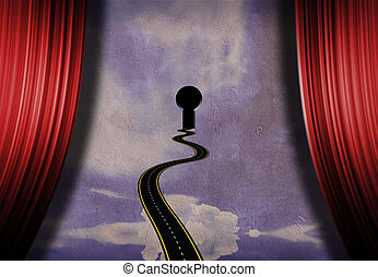 Art way - Symbolic composition. Road to keyhole on a stage...