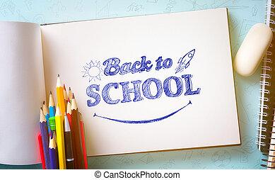 Art welcome Back To School Banner; School Supplies Tumblr