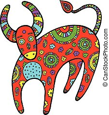 Art with cartoon cow