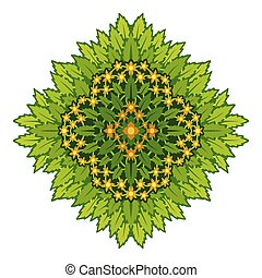 Art with decorative green leaves and flowers