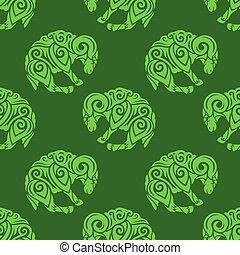 Art with green seamless pattern with aries