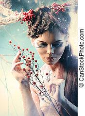art woman - Art project. Close-up portrait of a beautiful...