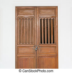 art wooden door on white background