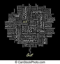 ART. Word cloud illustration. Tag cloud concept collage.