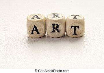Art Word with Wooden Alphabet Blocks