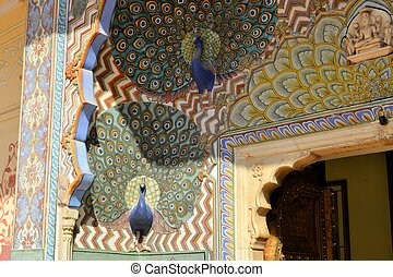 Art work of Peacock in City Palace, Jaipur, India