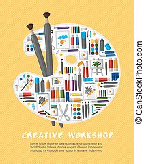 Art workshop with palette template