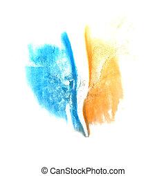 art Yellow, dark blue watercolor ink paint blob watercolour...