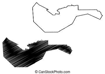 Arta Region (Republic of Djibouti, Horn of Africa, Gulf of Aden) map vector illustration, scribble sketch Arta map