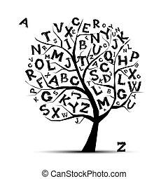 arte, árbol, con, cartas, de, alfabeto, para, su, diseño