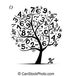 arte, árbol, con, matemáticas, símbolos, para, su, diseño