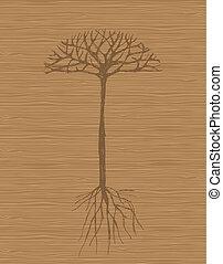 arte, árbol, con, raíces, en, de madera, plano de fondo