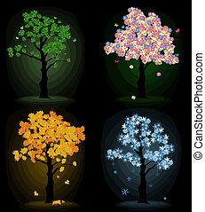 arte, árbol, cuatro, Estaciones, su, diseño