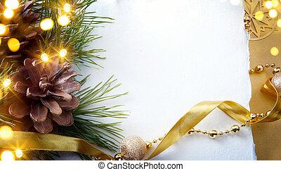 arte, árbol de navidad, luz