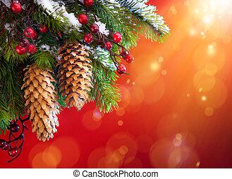 arte, árbol de navidad, nevoso