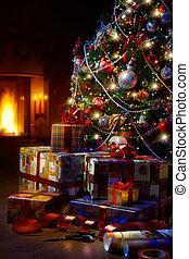 arte, árbol de navidad, y, regalo de navidad, cajas, en, el, interior, con, un, chimenea