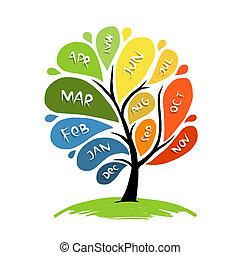arte, árbol, diseño, con, 12, pétalo, meses, de, año