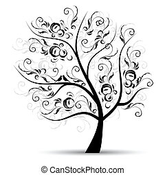 arte, árbol, hermoso, negro, silueta