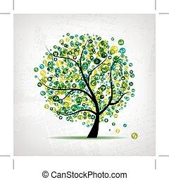 arte, árbol, verde, figuras, diseño, su
