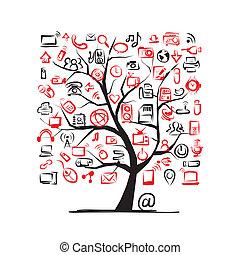 arte, árvore, aquilo, dispositivos, desenho, seu