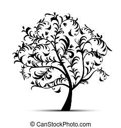 arte, árvore, bonito, pretas, silueta