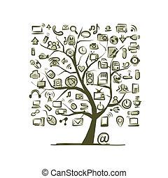 arte, árvore, com, aquilo, dispositivos, para, seu, desenho