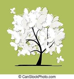 arte, árvore, com, borboletas, para, seu, desenho