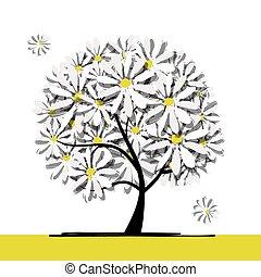 arte, árvore, com, camomiles, para, seu, desenho