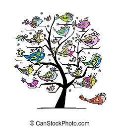 arte, árvore, com, engraçado, peixes, para, seu, desenho