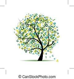 arte, árvore, com, letras, verde, para, seu, desenho