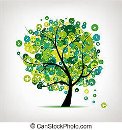 arte, árvore, com, sinais, de, positivo, e, menos, para, seu, desenho