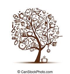 arte, árvore, com, utensílios cozinha, esboço, desenho,...