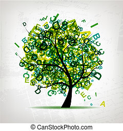 arte, árvore, desenho, letras, verde, seu