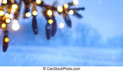 arte, árvore natal, luz