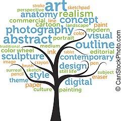 arte, -, árvore, palavra