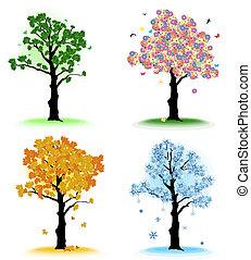 arte, árvore, quatro estações, seu, design.