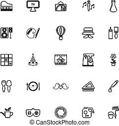 arte, ícones, fundo, atividade, linha, branca