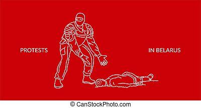 arte abstracto, seguridad, belarus, batido, belorussian, vector, funcionario, ilustración, siluetas, protests, protestador