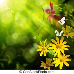 arte abstracto, verano, fondo., flor, y, mariposa