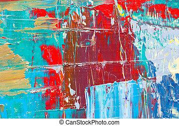 arte abstrata, experiência., mão-pintado, fundo