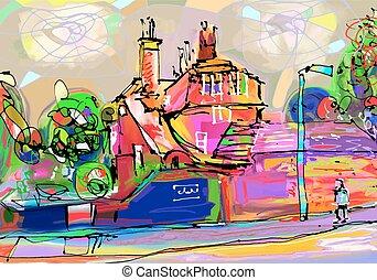 arte, abstratos, britânico, composição, vila, digital, ...