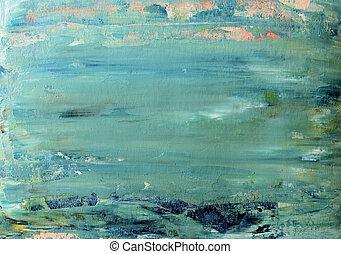 arte, abstratos, experiência azul, pintado, com, acrílico,...