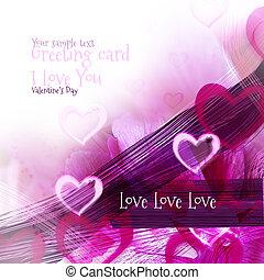 arte, abstratos, fundo, com, cor-de-rosa, corações, motivo, como, cartão cumprimento