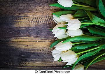 arte, abstratos, fundo, primavera, tulips, madeira, desenho