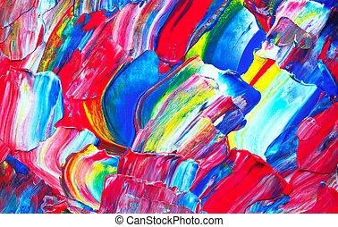 arte, abstratos, pintura, com, acrílico, cores