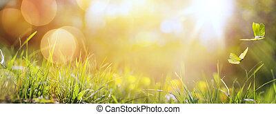 arte, abstratos, primavera, fundo, ou, verão, fundo, com, fresco, capim, e, borboleta