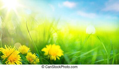 arte, abstratos, primavera, fundo, ou, verão, fundo, com, fresco, capim