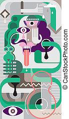 arte, abstratos, vetorial, -, ilustração