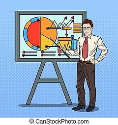 arte, affari, pop, chart., vettore, illustrazione, uomo affari, presentare, bastone indicatore